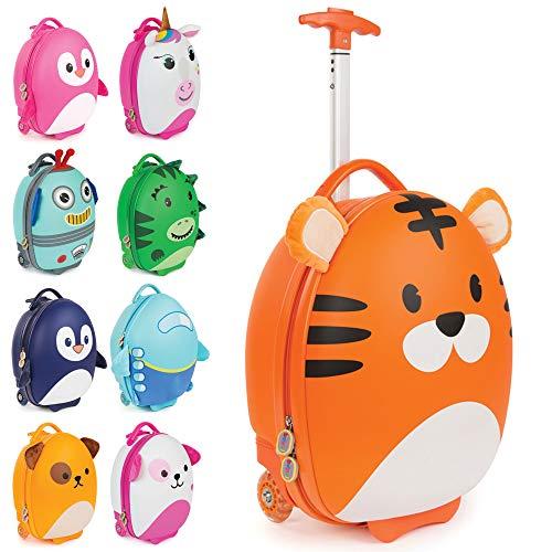 boppi Tiny Trekker trolley per bambini bagaglio a mano trolley con maniglia trolley leggero con ruote valigia a mano 17 litri - Tigre