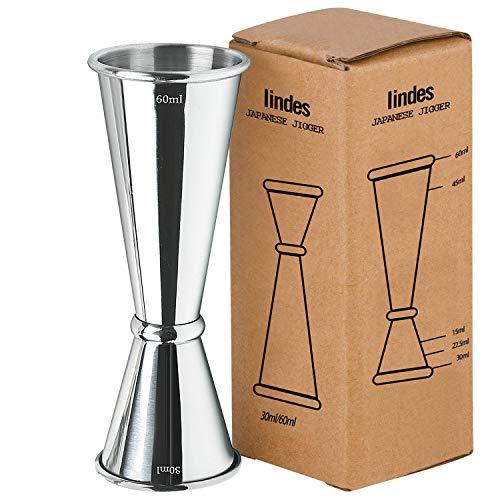 Iindes Jigger Spirituosen Barmaß Messbecher aus Edelstahl Dual 3cl 6cl Maßnahme Cup für Bar Party Gin Wein Cocktail Messbecher 30ml 60ml Shaker