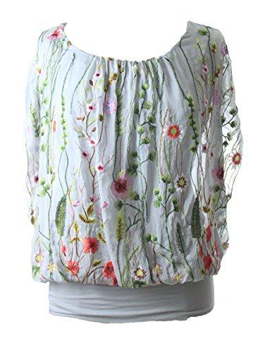 Moda Italy Bluse Tunika Oversized mit Blüten Stickereien und Seide Grey