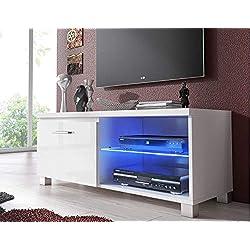Comfort Home Innovation- Meuble Bas TV LED, Salon-Séjour, Blanc Mate et Blanc Laqué, Dimensions: 100 x 40 x 42 cm de Profondeur.