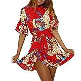 SANFASHION Été Femmes Floral Vintage Mini Robe A-Ligne volentée Jupe Taille haute Soirée Party Plage Style ethnique (S, Rouge)