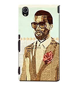 Blue Throat Man Wearing Newspaper Clothes Printed Designer Back Cover/Case For Sony Xperia M4