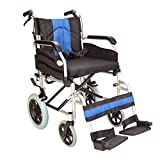 Lightweight folding deluxe aluminium transit wheelchair with handbrakes ECTR02-18