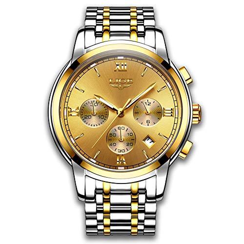 Relojes para Hombres Marca de Lujo LIGE Reloj analógico de Cuarzo para Hombre Impermeable Acero Inoxidable Reloj Deportivo Hombre Oro Reloj De Vestir De Negocios