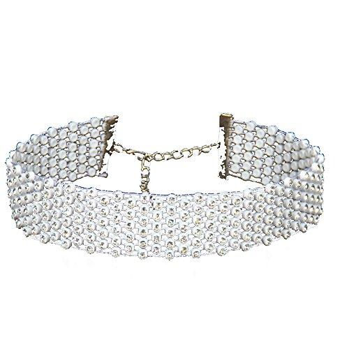 Qinlee Retro Halskette Choker Breit Necklace Punk-Stil Kropfband Hochzeiten Bankette Party Mode Geschenk für Damen Mädchen (Weiss)