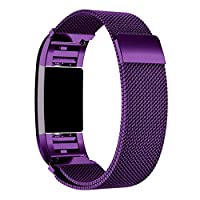 Fitbit Charge 2 Band,HARRYSTORE Milanese Stainless Steel Watch Band Strap Bracelet and HD Film for Fitbit Charge 2 (Purple)