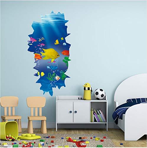 Abnehmbare wasserdichte unterwasser paradies fisch muster 3d wandaufkleber schlafzimmer möbel dekoration kinder wohnzimmer 30x60 cm