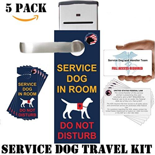 Offizielles Service Dog Travel Kit inkl. Service in Zimmer-Do Not Disturb-Door-Hangers (5Stück) und ADA/FAA informationelle Almosen Karten (5Stück) -