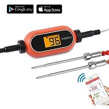 Termómetro Cocina Digital, VADIV Termómetro de Barbacoa Inalámbrico Alarma Inteligente con 2 Sondas Acero Inoxidable