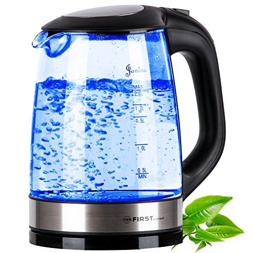 TZS First Austria - 2 Liter Edelstahl Glaswasserkocher mit blaue LED Beleuchtung, Anti-Kalkfilter, automatische Deckelöffnung, verdecktes Heizelement, 2200 Watt Wasserkocher aus Glas schwarz Edelstahl