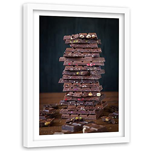Feeby Wanddeko weißer Rahmen Schokolade Bild Art Nüsse Dessert Braun 60x90 cm