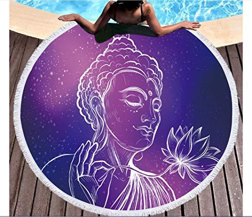 Anasc Toalla de Playa de Microfibra - Diseño único de Color Morado Oscuro de Buda - Toalla de Playa Redonda, Suave y cómoda, 150 cm.