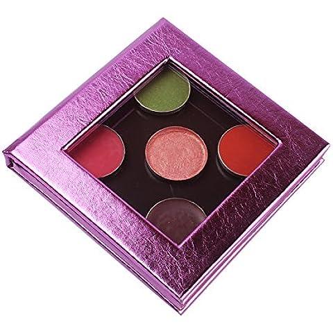 Pequeño tamaño vacío paleta de maquillaje magnético púrpura brillante viaje bolsa de