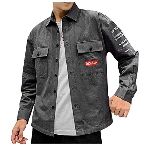 BCFUDA Herren Mode Casual Langarmshirts Brief Drucken Slim Fit Tops Atmungsaktiv Revers Knopf Bluse Brust Pocket Workwear Im Freien Im Freien Freizeit Mantel Jacke -