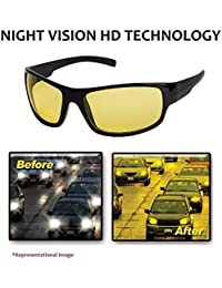 NuVew Unisex Plastic UV Protected Day/Night Vision Driving Rectangular Sunglasses (Yellow Lens, NW-RX861-23-YLW543)