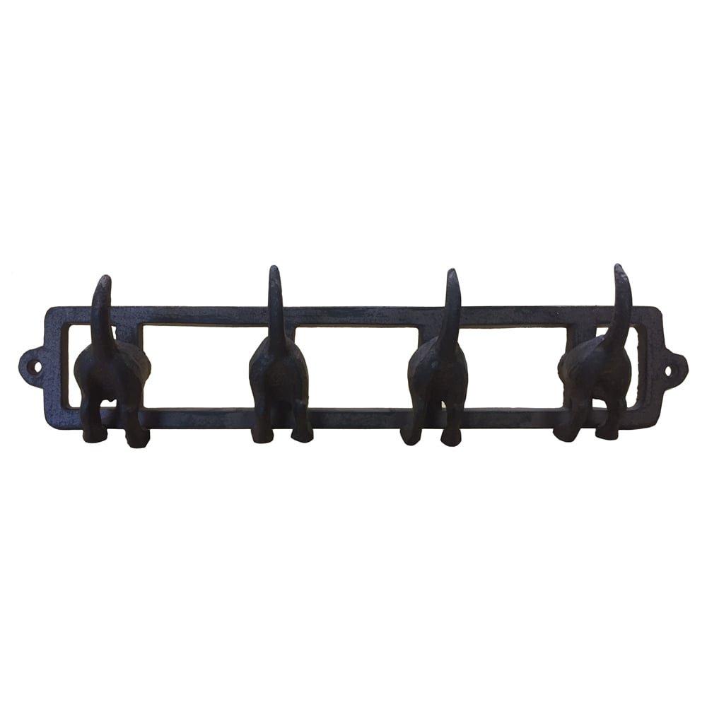 Cast Iron Dogs Tails Hook Key Coat Rack Organiser 350 X