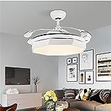 Ventilateur De Plafond Coloré Moderne Simple Macaron Ventilateur LED Ventilateurs De Plafond De Refroidissement Avec Des Lumières, Blanc, 36 Pouces