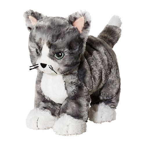 LILLEPLUTT - Stofftier, Katze grau, weiß