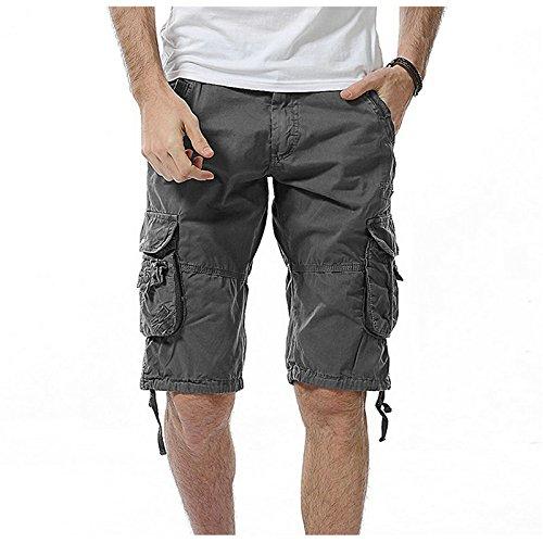 WDDGPZDK Strand Shorts/Sommer Lässige Shorts Men Baumwolle Slim Mens Cargo Shorts, Eisen Grau, 29.