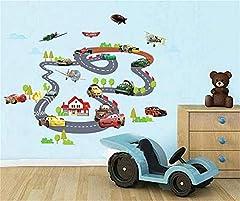 Idea Regalo - ufengke Cartone Animato Macchina da Corsa Aereo Adesivi Murali, Camera dei Bambini Vivai Adesivi da Parete Removibili/Stickers Murali/Decorazione Murale