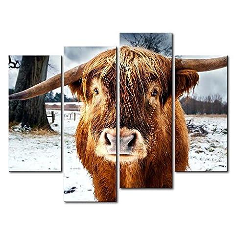Leinwanddruck Bild für Home Decor Braun Highland Rind 4Stück Gemälde Moderne Giclée-gespannt und gerahmt Artwork Öl der Animal Bilder Foto Prints auf Leinwand