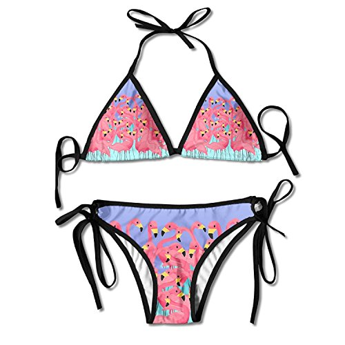 2fe7e2904c Red Flamingo Family Multi-Color Women s Sexy 2 Pcs Swimsuit Triangle Bikini  Set Beachwear