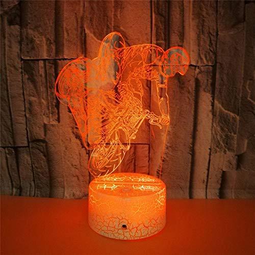 achtlicht 7 Farbe Acryl USB Weiß Crack Base LED Schlafzimmer Lampe Weihnachtsgeschenk für Kinder ()