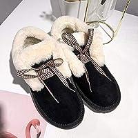 SKYROPNG Zapatos Invierno Mujer Botas De Nieve,Versión Coreana Wild Negro Botines Botines Espesar Suave Caliente Botas De Algodón Cómodo Antideslizante Exterior Mujer 39