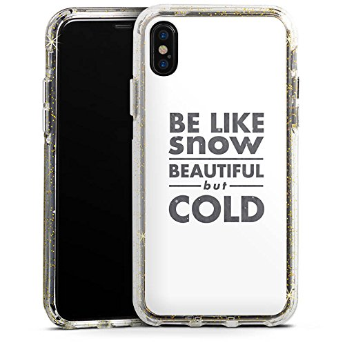 Apple iPhone X Bumper Hülle Bumper Case Glitzer Hülle Sayings Sprüche Phrases Bumper Case Glitzer gold