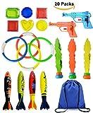 Spielzeug Unterwasser Schwimmbad Spielzeug,4 Stück Torpedos,4 Stück Schwimmspielzeug Tauchringe,6 Stück Edelsteine,2 StückWasserpistole,3 Stück Algen Tauchen,Tragetasche, Schwimmen Spielzeug-Set für Kinder ,Pool Spielzeug