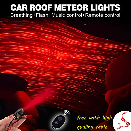 Price comparison product image Romantic Auto Roof Stars, Atmosphere Ambient Star, The Romantic Environment Multiple Modes for Car / Home / Party -No Need to Install (Red-Meteor Shower)