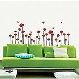 Ambiance-Live Wandtattoo Blumen Rote Mohnblumen