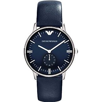 Emporio Armani AR1647 – Reloj analógico de Cuarzo para Mujer, Correa de Cuero Color Azul
