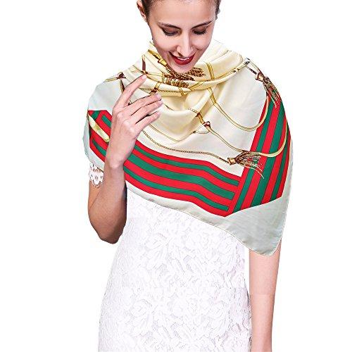 iEverest Damen Seidenschal Quadratisch Luxus Sonnencreme Schals Wrap Strand Schal Anti-Uv Schals Elegant Seiden Schal 2018 Neue (Beige Seil, 130 * 130) -