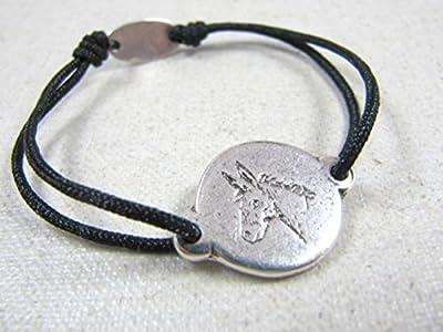 """Bracelet cordon tréssé """"Ane"""" 17mm finition argent 925"""