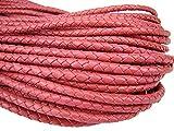 esnado Lederschnur Rund Geflochten. Durchmesser 5 mm. Pink. 5 m. Länge: wählbar