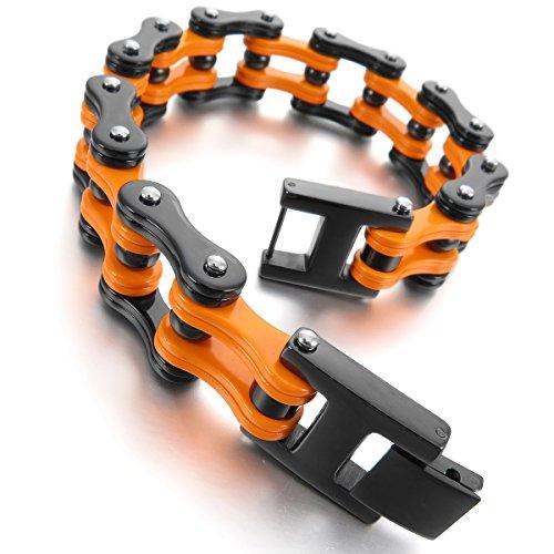 MunkiMix Acciaio Inossidabile Bracciali Bracciale Braccialetto Collegamento Polso Nero Arancione Vuoto Uomo