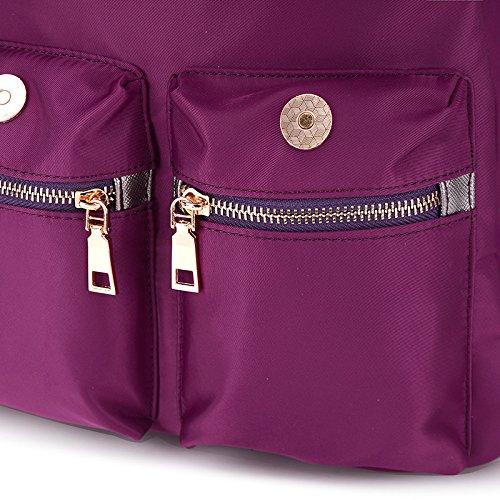 LINGE-Doppia borsa a tracolla casual Oxford di zaino donna donne , black Purple