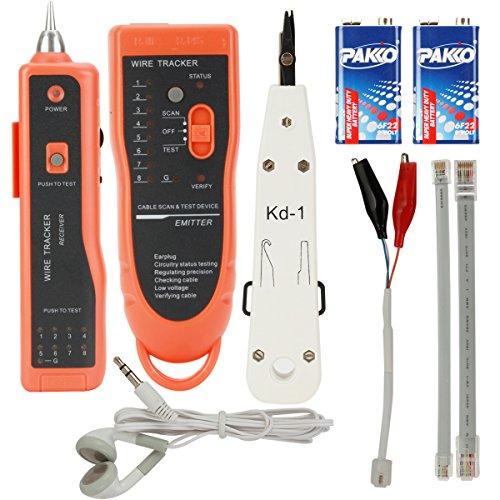 Preisvergleich Produktbild ZITFRI Kabeltester, Kabelfinder RJ45/RJ11 | Finder für Telefonkabel und LAN-Kabel | Draht-Verfolger Leitungsdetektor Emitter