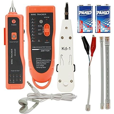 Wire Tracker Cable localizador LAN RJ45 RJ11, ZITFRI, Comprobador de cable de red ethernet, conexion telefónicas y