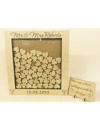 Libro de invitados a Boda 104 corazones, caja de madera, personalizable, con texto para aniversario o cumpleaños 45 x 44 cm rústicas