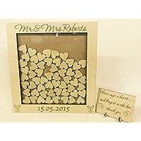 Personalised Wedding-Libro degli ospiti per matrimoni, a forma di cuore, in legno, 104, motivo anniversario di matrimonio, idea regalo per compleanno, motivo femminile shabby chic, stile rustico, 45 x 44 cm