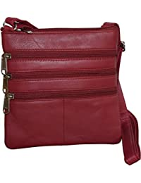 London Stitch Women'S Genuine Leather Multi Pocket Small Crossbody Bag (Red)