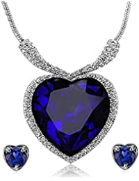 Navya Collection Titanic Heart Of The Ocean Swarokshi Crystal Zircon Jewellery Necklace Set / Pendant Set With...