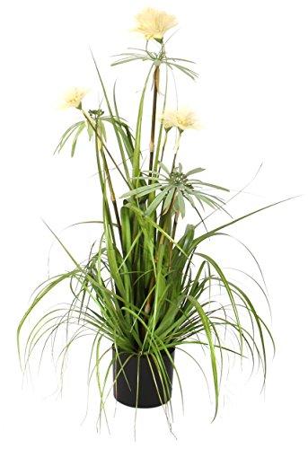 MICA Decorations 930523-T Kunstblume -und Pflanze, Ziergras Pom Pom im Topf Höhe 90 cm, Durchmesser 35 cm, Grau
