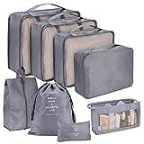 Juego de organizador de maletas Bolsas de ropa de viaje de 8 piezas Organizador de viaje Cubos de embalaje Bolsa de almacenamiento Bolsas de ropa Set Organizador de equipaje para ropa Bolsa de zapatos