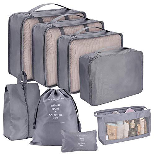 Set di accessori per valigie Set di 8 pezzi Borse per indumenti da viaggio Organizzatore di viaggio Cubi da imballaggio Borsa di stoccaggio Set di