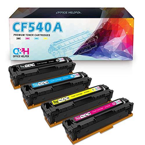 OFFICE HELPER 203A CF540A Cartuchos de Tóner Compatibles para HP Color Laserjet Pro M254NW M254DW MFP M281FDN MFP M280NW MFP M281FDW-4PK