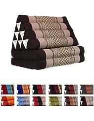 Coussin Thai - Pouf - Triangulaire - Capoc/coton - Avec assise 2 plis - Koh Samui - Marron/beige