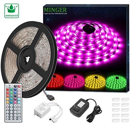 Tiras LED Iluminación, Minger Tira LED TV 2M, 5050 RGB Impermeable, Control de APP, Micrófono Integrado con Controlador, Para TV, PC, Oficina, Decoración del Hogar Etc.